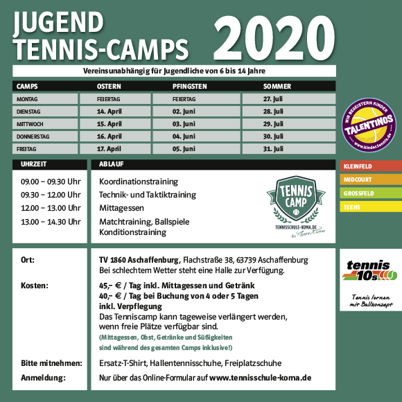 Jugend Tennis Camps 2020 580px